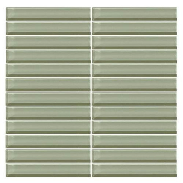 Daltile Color Wave Glass - CW15 Green Parade - 1 X 6 Straight Joint Dal Tile Glass Mosaic Tile - Glossy - Sample