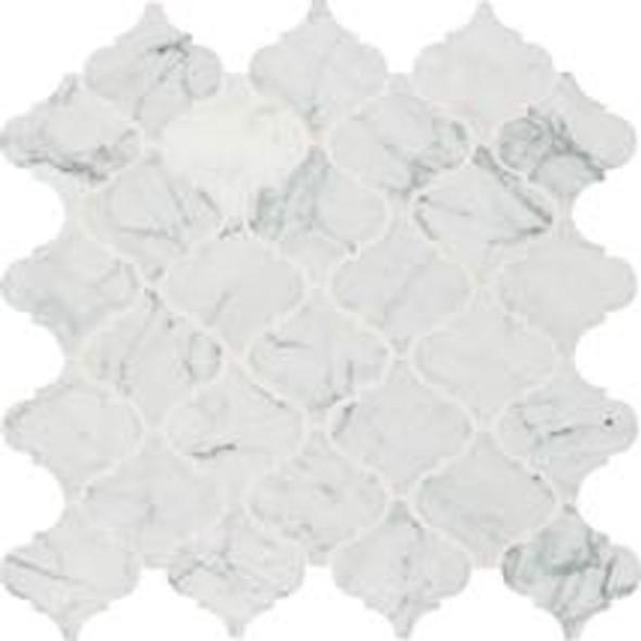 Daltile M701 Baroque White Carrara - 3 X 3 Arabesque Shape Stone Mosaic - Polished - Sample