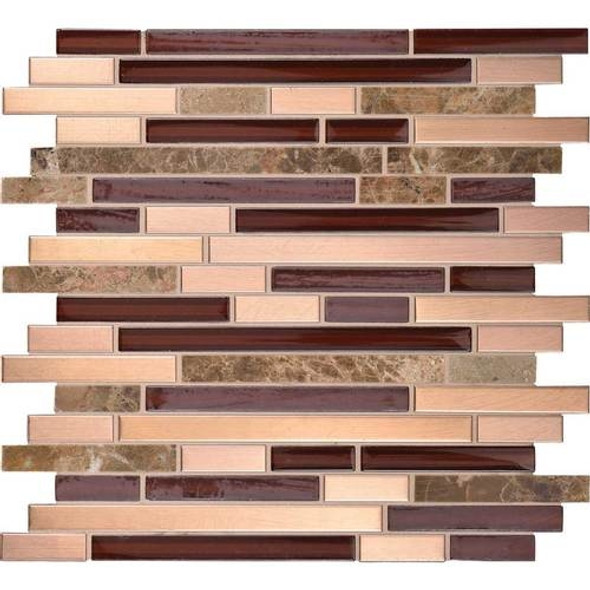 Daltile Fanfare Endeavors - F157 Tambura - 5/8 X Linear Glass Stone and Metal Mosaic - Sample