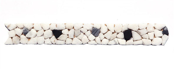 Micro Mosaic Stone Liner Border - MM1004 - Marble Pebble Listello Strip - Tumbled Finish - $4.99