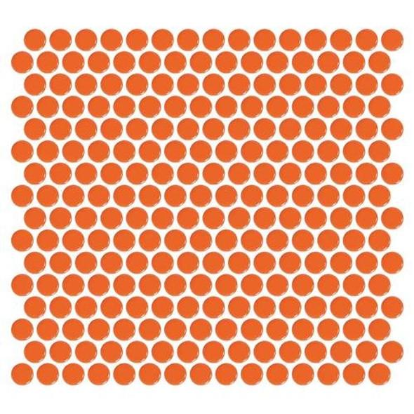 Daltile Fanfare Retro Rounds - RR08 Orange Soda - 1 inch Penny Round Glazed Porcelain Mosaic Tile - Gloss Finish - Sample