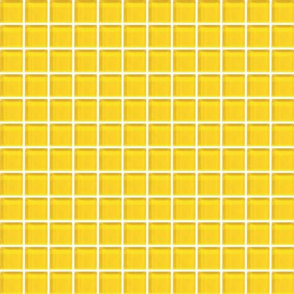 Daltile Color Wave Vibrant Glass - CW34 Lemon Popsicle - 1 X 1 Dal Tile Glass Tile - Glossy - Sample