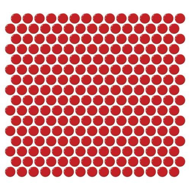 Daltile Fanfare Retro Rounds - RR09 Cherry Red - 1 inch Penny Round Glazed Porcelain Mosaic Tile - Gloss Finish - Sample