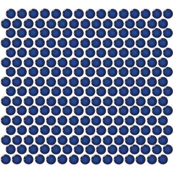 Daltile Fanfare Retro Rounds - RR10 Denim Blue - 1 inch Penny Round Glazed Porcelain Mosaic Tile - Gloss Finish - Sample
