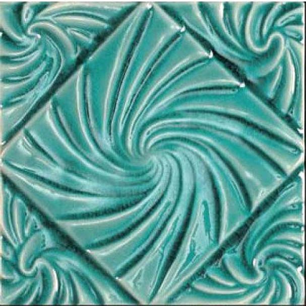 Bristol Studios - Nouveau - G2797 Lyon Teal Relief Deco - 6X6 Hand Crafted Decorative Tile - $4.95