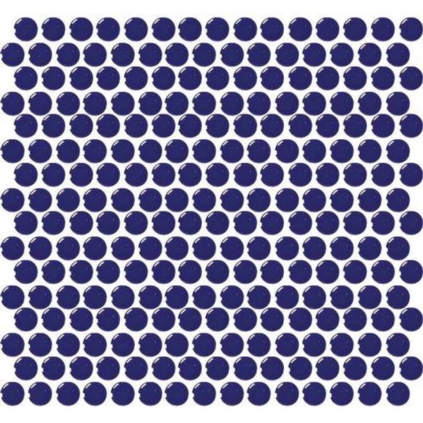 Daltile Fanfare Retro Rounds - RR11 Cobalt Circle - 1 inch Penny Round Glazed Porcelain Mosaic Tile - Gloss Finish - Sample