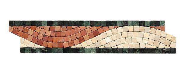 Micro Mosaic Stone Liner Border - MM2003 - Crema Marfil, Rojo, & Verde Marble Listello Strip - Tumbled Finish - $5.99