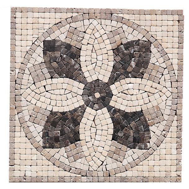 "Jeffrey Court Micro Flower Panel Medallion - 12"" X 12"" Emperador Crema Travertine Natural Stone Mosaic Medallion"
