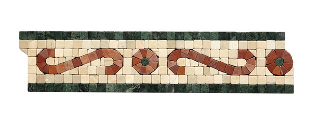 Micro Mosaic Stone Liner Border - MM2005 - Crema Marfil, Rojo, & Verde Marble Listello Strip - Tumbled Finish - $5.99