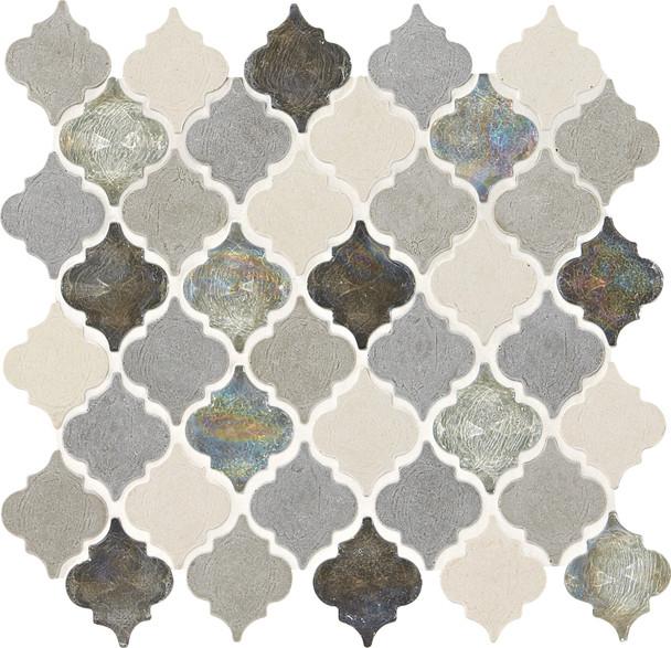 Daltile Blanc ET - DA19 Gris Baroque - Arabesque Lantern Moroccan Shape Glass & Resin Stone Tile Mosaic