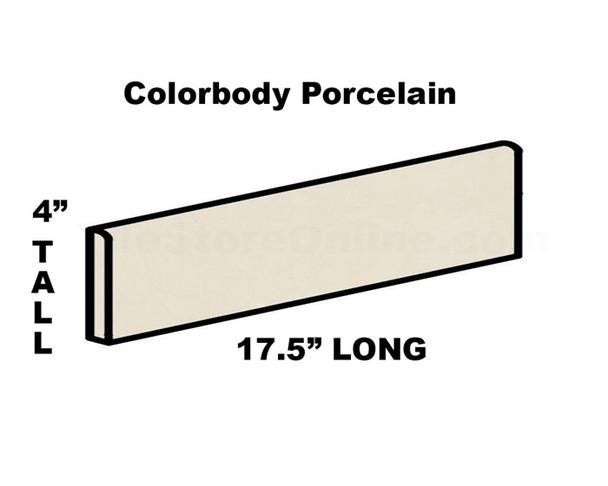 Daltile - Porcealto CD28 Bianco Ghiaccio - 4 X 17.5 Bullnose - Color Through Body Porcelain Bull Nose Trim Tile