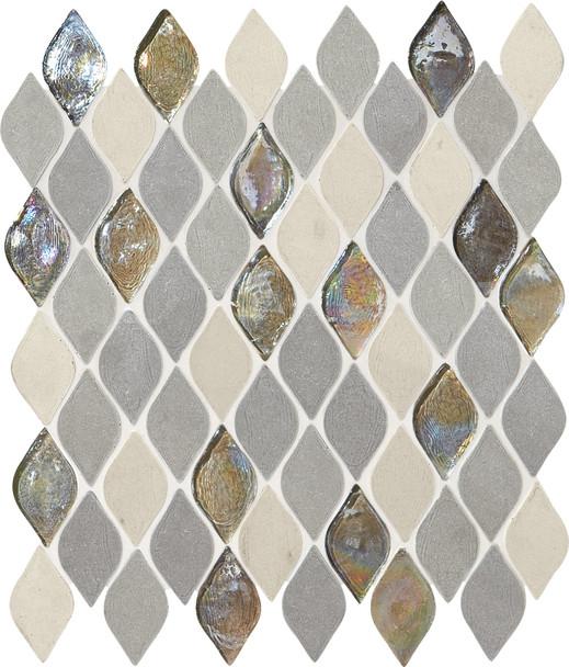 Daltile Blanc ET - DA19 Gris Raindrop - Flame Shape Glass & Resin Stone Tile Mosaic