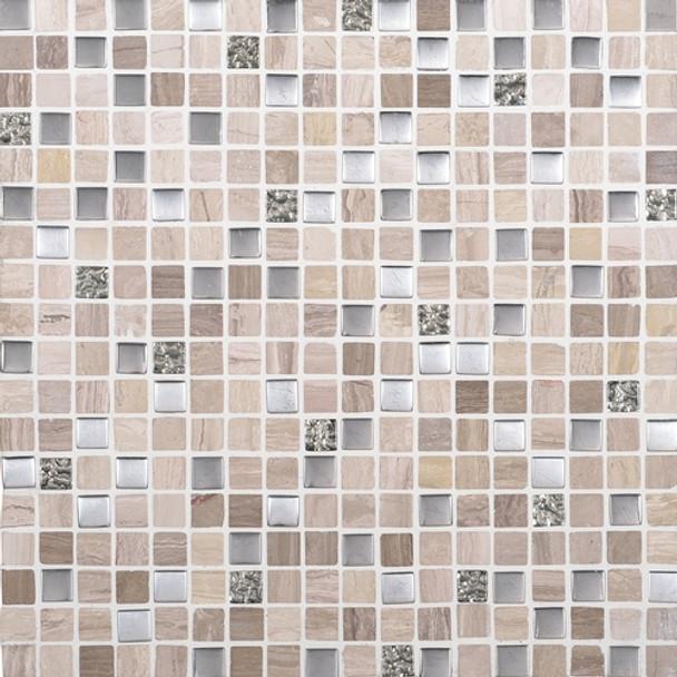 Daltile Marvel Mosaic - MV20 Whimsical- 5/8 X 5/8 Glass Tile, Stone, and Metal Deco Tile Mosaic* SAMPLE *