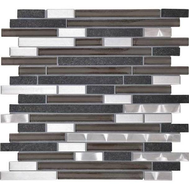 Daltile Fanfare Endeavors - F162 Zen - 5/8 X Linear Glass Stone and Metal Mosaic - Sample