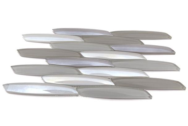 Avenue Mosaics - Streamline - OT-ST-MT Mustang - Curved Linear Glass Tile - Iridescent - $12.95