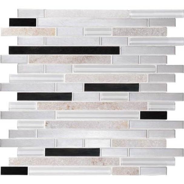 Supplier: Daltile Fanfare, Series: Endeavors, Name: F163, Color: Avant Garde, Category: Glass Stone and Metal Tile Mosaics, Size: 5/8 X Linear