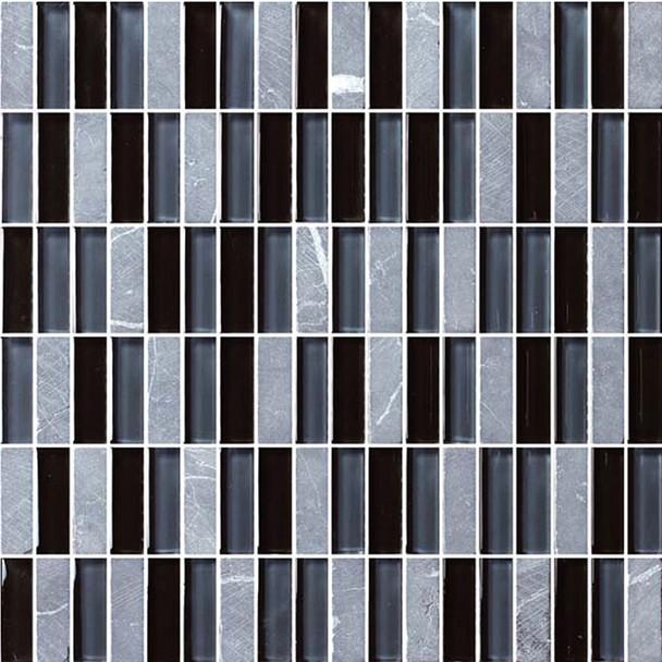 Bristol Studios - Crystal Stone - G2276 Night Bricks - 5/8 X 1-7/8 Brick Subway Glass & Stone Tile Mosaic - $7.99
