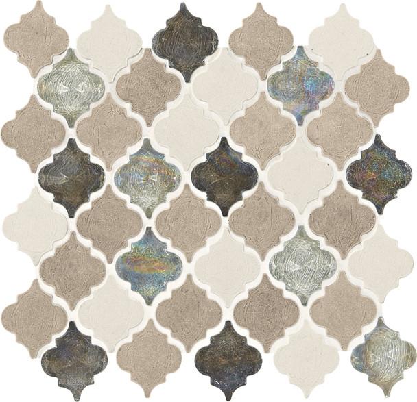 Daltile Blanc ET - DA20 Beige Baroque - Arabesque Lantern Moroccan Shape Glass & Resin Stone Tile Mosaic
