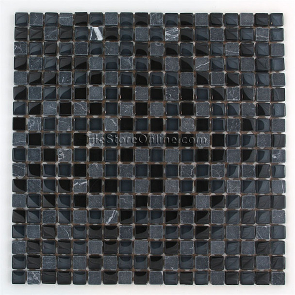 Supplier: Tile Store Online, Name: G2275, Color: Night Squares, Category: Glass and Stone Mosaic Tile, Size: 5/8 X 5/8