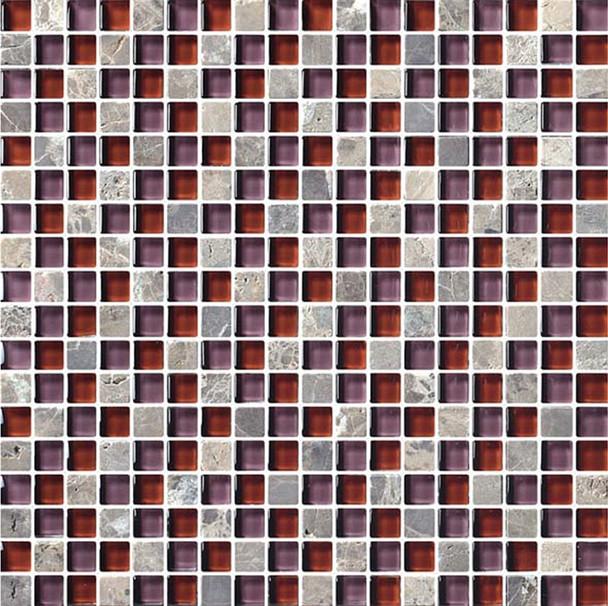 Bristol Studios - Crystal Stone - G2277 Rouge Squares - 5/8 X 5/8 Square Glass & Stone Tile Mosaic - Sample