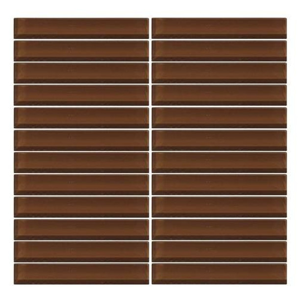 Supplier: Daltile, Series: Color Wave, Name: CW11 Root Beer - Glossy, Color: White, Category: Glass Tile, Size: 1 X 6