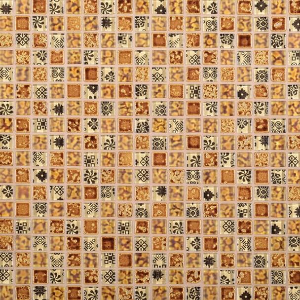 Daltile Marvel Mosaic - MV23 Charm - 5/8 X 5/8 Glass Tile, Stone, and Metal Deco Tile Mosaic* SAMPLE *