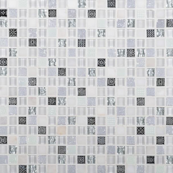 Daltile Marvel Mosaic - MV24 Opal - 5/8 X 5/8 Glass Tile, Stone, and Metal Deco Tile Mosaic* SAMPLE *