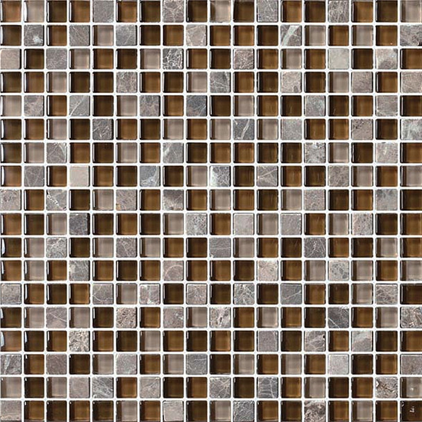 Bristol Studios - Crystal Stone - G2279 Cafe Squares - 5/8 X 5/8 Square Glass & Stone Tile Mosaic - Sample