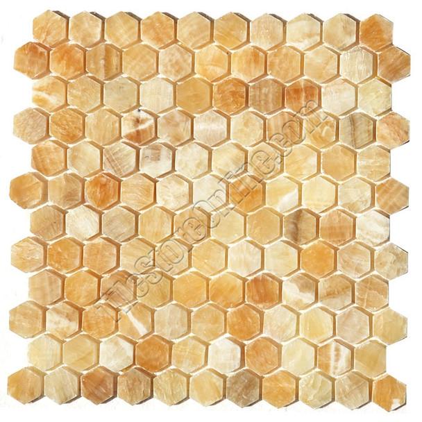 Type: Stone Mosaic, Series: Polished Hexagon Onyx Mosaic, Color: Honey Onyx, Category: Natural Stone Mosaics, Size: Hexagon