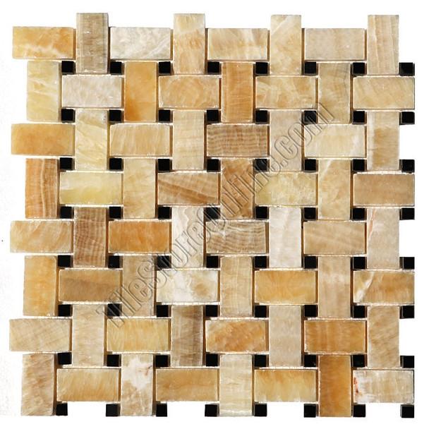 Type: Stone Mosaic, Series: Polished Basketweave Onyx Mosaic, Color: Honey Onyx, Category: Natural Stone Mosaics, Size: Basket Weave