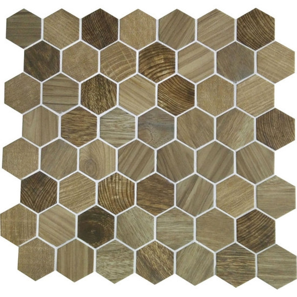 American Olean Entourage Crosswood Hexagon Glass - CR97 Sandpiper - Wood Look Glass Tile Mosaic - $12.99