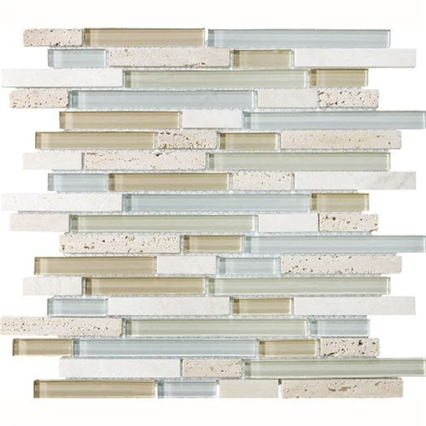 Eclipse Tranquility Linear Glass and Stone Mosaic Tile - Strip Sticks of Travertine, and Glossy Glass Tile * SAMPLE *
