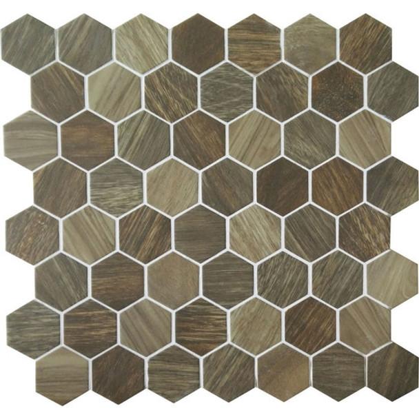 American Olean Entourage Crosswood Hexagon Glass - CR98 Heron - Wood Look Glass Tile Mosaic - $12.99