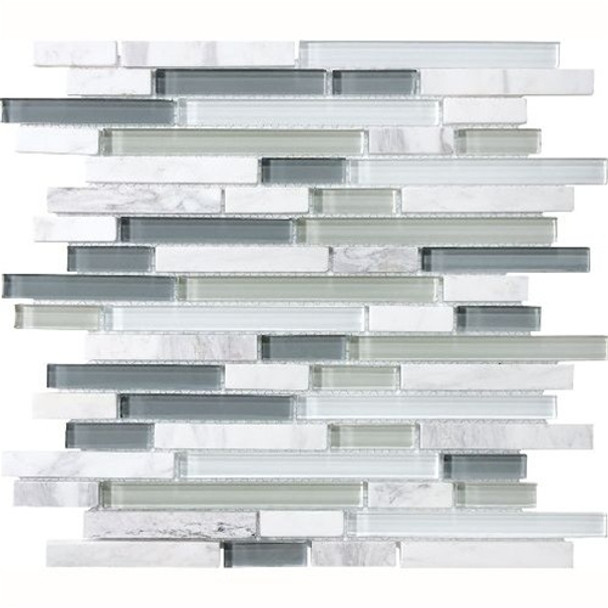 Supplier: Tilecrest, Series: Eclipse, Type: Glass Tile and Natural Stone Strips Sticks, Name: Eternity, Color: Gray, Category: Glass and Stone Mosaic Tile, Size: Various Mixed Size Strips