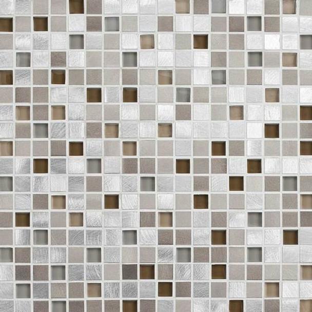 American Olean Morello - MM04 Amber - 5/8 X 5/8 Square Glass and Aluminum Metal Tile Mosaic * SAMPLE *