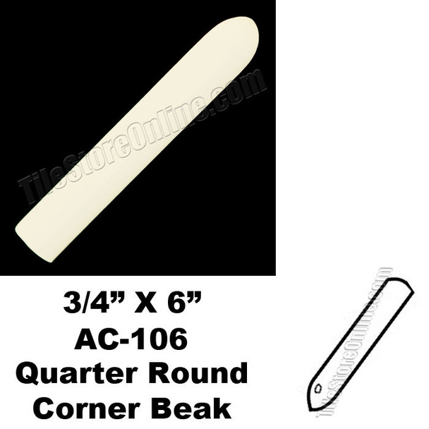 Daltile - 0135 Almond - 3/4X6 Quarter Round Out Corner Beak - AC106 Dal Tile Ceramic Trim Tile