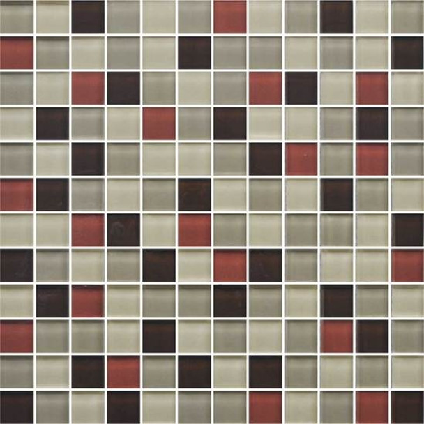 American Olean Color Appeal Glass Blends - C131 Earth Fire Blend - 1X1 Glass Tile Mosaic - Glossy - Sample