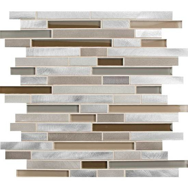 American Olean Morello - MM04 Amber- 5/8 X Linear Glass and Aluminum Metal Tile Strip Stick Mosaic *SAMPLE*