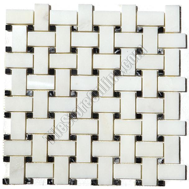 Type: Stone Mosaic, Series: Polished Basketweave Marble Mosaic, Color: China White, Category: Natural Stone Mosaics, Size: Basket Weave