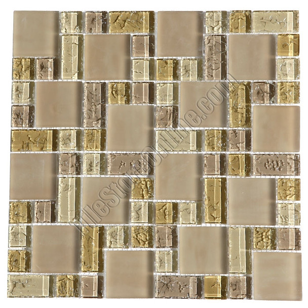 Crackle Glass Tile - Various Sized Crackled Glossy Glass and Frosted Glass Tile Mosaic - Cream Blend * SAMPLE *