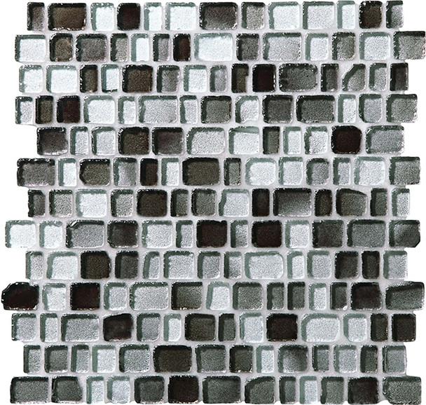 Daltile Fanfare Jewel Tide Glass Mosaic - JT03 Silver Shore - 3/4 X Random Tumbled Glossy Sea Glass Style - Sample
