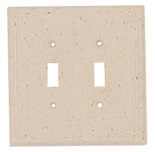 Resin Travertine Faux Stone Wall Switch Plate Outlet Cover - Double Toggle Switch - Geometric - Light Travertine Color - $6.99
