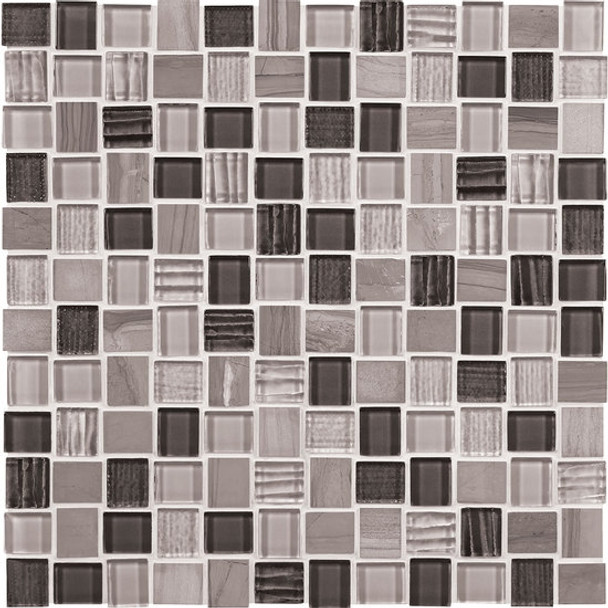 """Supplier: American Olean, Series: Entourage Marble Weave, Name: MW04 Great Giza, Type: Glass & Stone MosaicTile, Size: 1"""" X 1"""""""