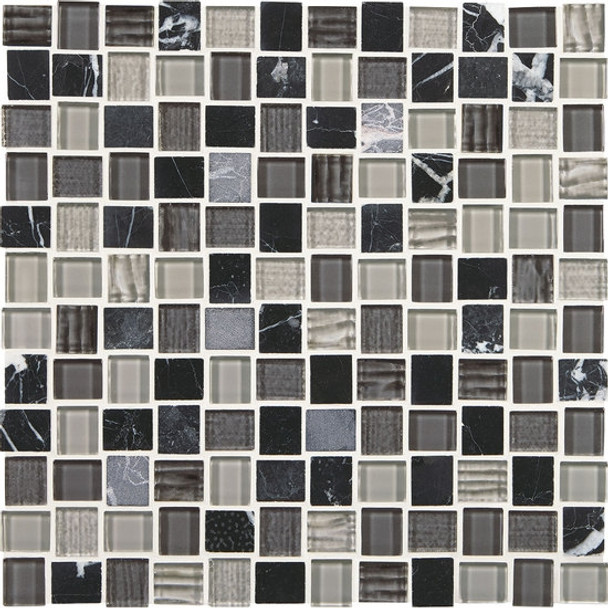 "Supplier: American Olean, Series: Entourage Marble Weave, Name: MW05 Colosseum Nights, Type: Glass & Stone MosaicTile, Size: 1"" X 1"""