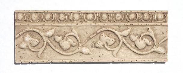 Resin Travertine Faux Stone - Shaw Floors CS442 - 4 X 12 Vine Listello Border Liner - Medium Travertine Color