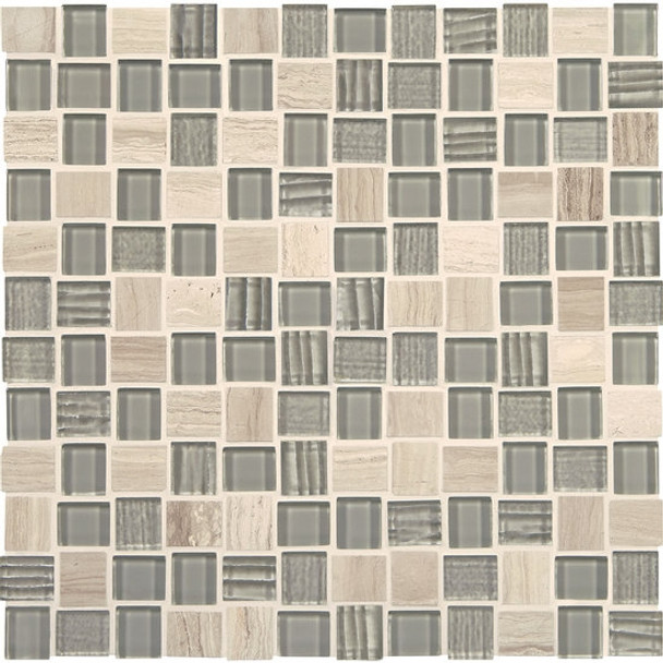 "Supplier: American Olean, Series: Entourage Marble Weave, Name: MW07 Taj Mahal, Type: Glass & Stone MosaicTile, Size: 1"" X 1"""
