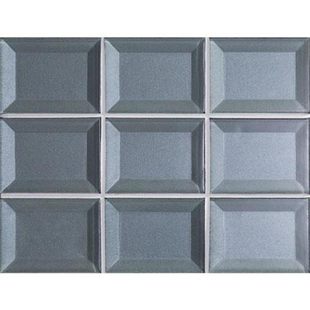 Marazzi - Luminescence LM12 Blue Patina - 3 X 4 Beveled Glass Mosaic - Sample