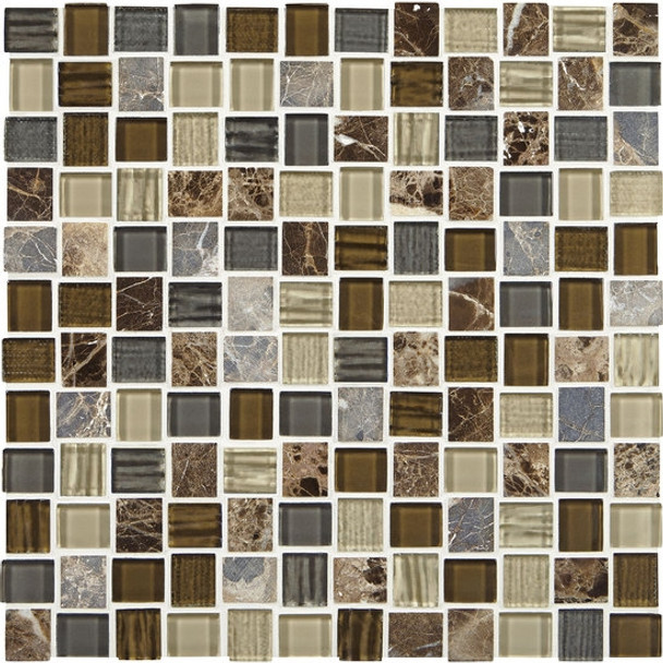 "Supplier: American Olean, Series: Entourage Marble Weave, Name: MW08 Great Wall, Type: Glass & Stone MosaicTile, Size: 1"" X 1"""