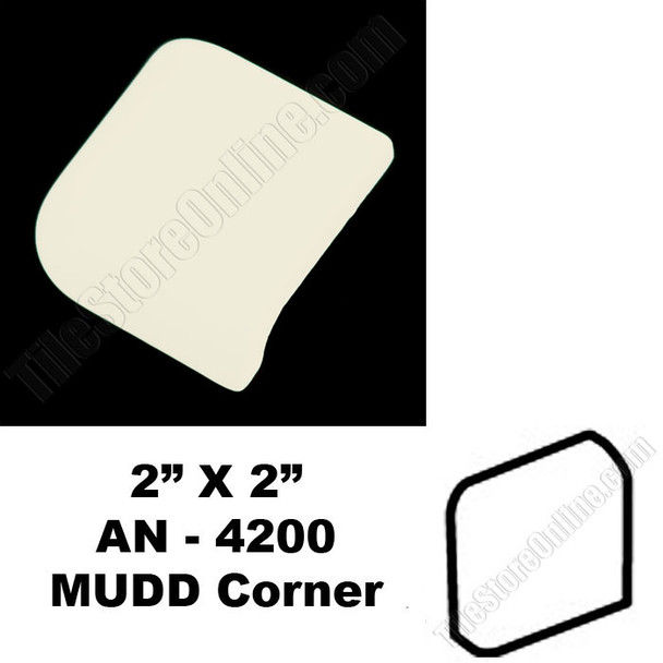 Supplier: Daltile, Type: Glazed Ceramic Tile Accessory Trim Tile, Series: Semi Gloss MUDD Bullnose Corner, Name: 0135 AN-4200, Color: Almond, Category: Ceramic Tile, Price: $.99, Size: 2X2