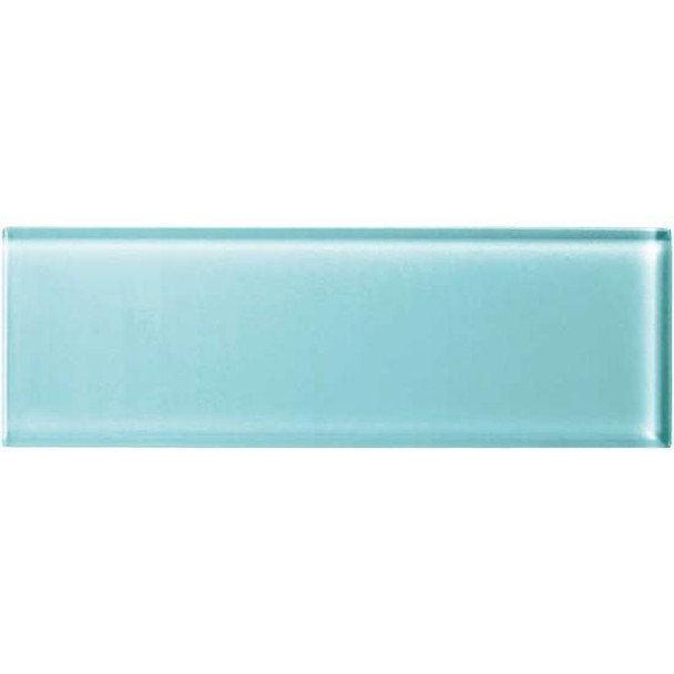 American Olean Color Appeal Glass - C108 Fountain Blue - 4X12 Subway Glass Tile Plank - Glossy - Sample